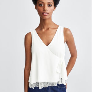 🆕 2/$50 BRAND NEW ZARA Lace Tie Surplice Blouse